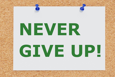 3D illustration of NEVER GIVE UP! on cork board