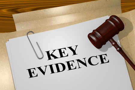 3D illustration of KEY EVIDENCE title on legal document