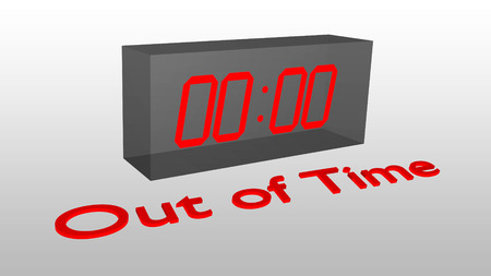 3D illustration of Out of Time title with a clock as a background displaying the time 00:00