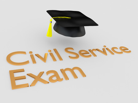3D illustration of Civil Service Exam script under a graduation hat