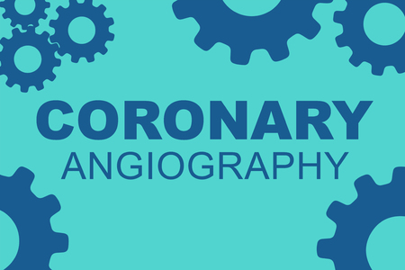 CORONARY ANGIOGRAPHY sign concept illustration with red gear wheel figures on yellow background