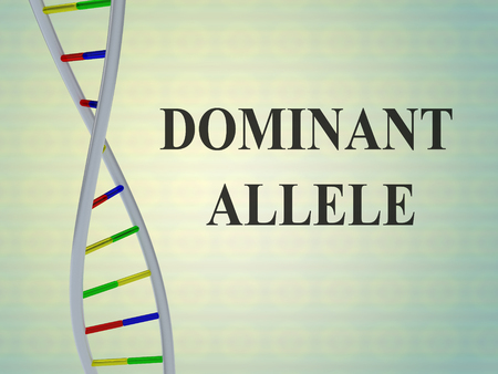 3D illustration of DOMINANT ALLELE script with double helix, isolated on colored background.