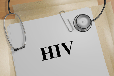 3D illustration of HIV title on a medical document