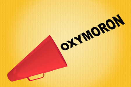 3D illustration of OXYMORON title flowing from a loudspeaker Stock Photo