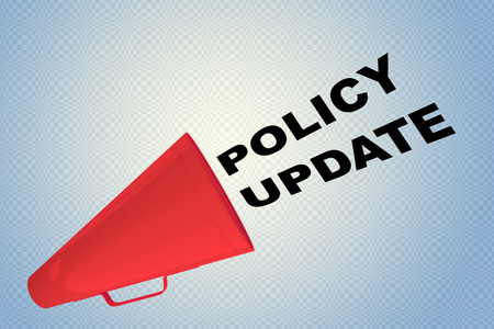 3D illustration of POLICY UPDATE title flowing from a loudspeaker