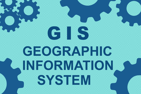 GIS (GEOGRAPHIC INFORMATION SYSTEM) sign concept illustration with blue gear wheel figures on pale blue background