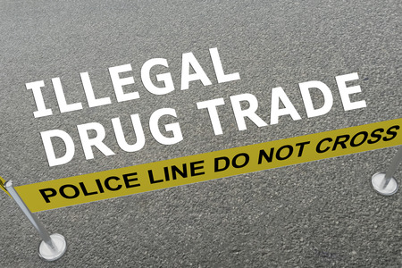 3D illustration of ILLEGAL DRUG TRADE title on the ground in a police arena
