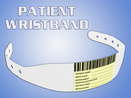 3D illustration of patient wristband, isolated on pale blue background