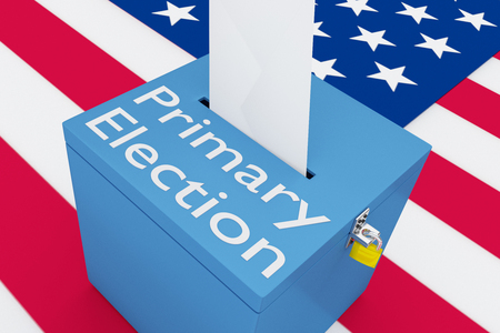 3D illustration of Primary Election script on a ballot box, with US flag as a background. Stock Photo