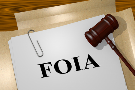 3D illustration of FOIA title on legal document