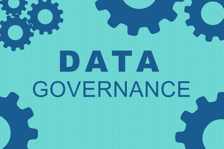 DATA GOVERNANCE sign concept illustration with blue gear wheel figures on pale blue background
