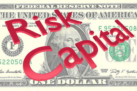 3D illustration of Risk Capital title on a Dollar bill as a background Stock Photo