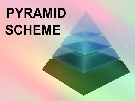 3D illustration of PYRAMID SCHEME script with sliced pyramid on color gradients background