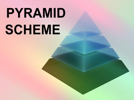 Ilustración 3D del script ESQUEMA DE PIRÁMIDE con pirámide en rodajas sobre fondo de degradados de color