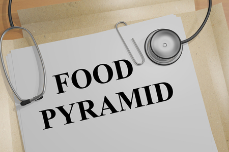 3D illustration of FOOD PYRAMID title on a medical document Stock Photo