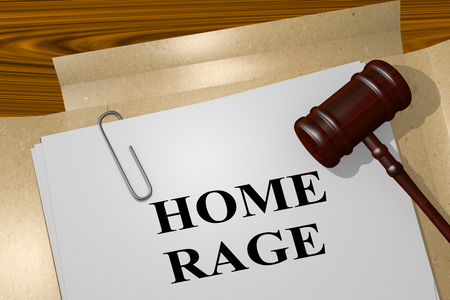 3D illustration of HOME RAGE title on legal document