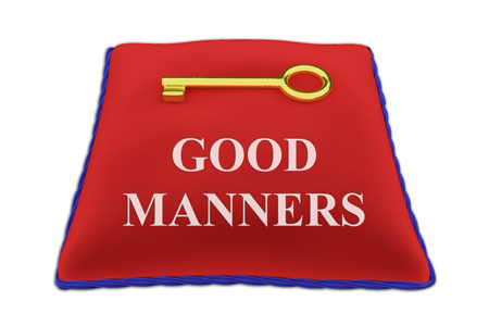 3D illustration of GOOD MANNERS Title on red velvet pillow near a golden key, isolated on white. Stock Photo