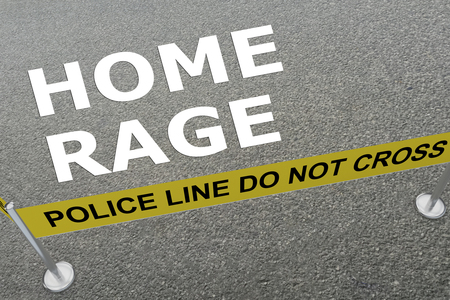 3D illustration of HOME RAGE title on the ground in a police arena