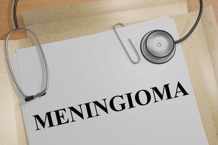 3D illustration of MENINGIOMA  title on a medical document