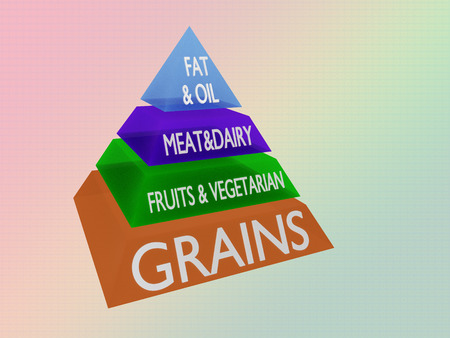 3D illustration of sliced pyramid, isolated on pale blue gradient as background. Each slice represents a basic food group.