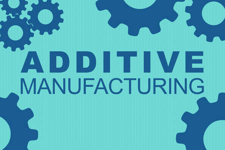 ADDITIVE MANUFACTURING sign concept illustration with blue gear wheel figures on pale blue background