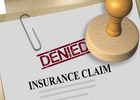 3D illustration of DENIED stamp title on insurance claim document Archivio Fotografico