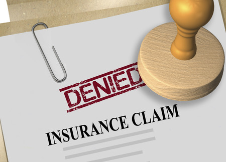 3D illustration of DENIED stamp title on insurance claim document Standard-Bild