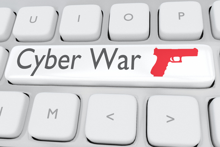 3D illustration of computer keyboard with the script Cyber War and red pistol on a white button