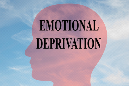 Render illustration of EMOTIONAL DEPRIVATION title on head silhouette, with cloudy sky as a background. Stock fotó