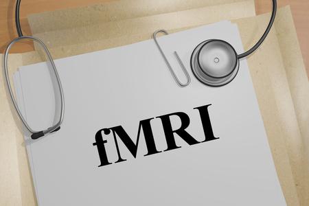 3D illustration of fMRI title on a medical document