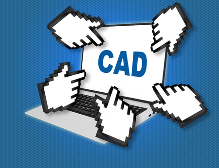 3D illustration of CAD script with pointing hand icons pointing at the laptop screen from all sides