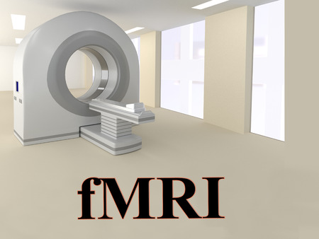 3D illustration of fMRI title with a scanner as a background.