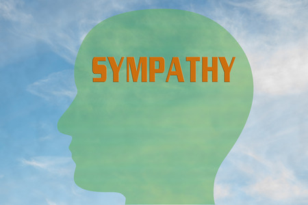 Render illustration of SYMPATHY title on head silhouette, with cloudy sky as a background. Stock Photo