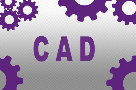 CAD sign concept illustration with purple gear wheel figures on gray gradient background Stok Fotoğraf