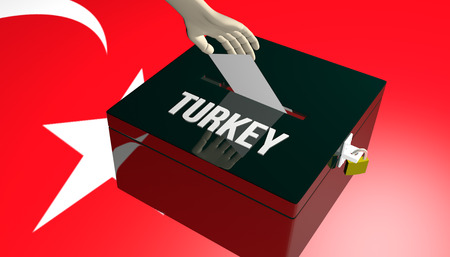 3D render illustration on Turkey Elections concept with voters insert their choice into ballot on Turkey flag background
