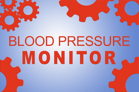 BLOOD PRESSURE MONITOR sign concept illustration with red gear wheel figures on pale blue background