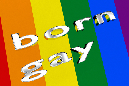 3D illustration of born gay title on pride flag