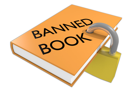 3D illustration of BANNED BOOK script on a book, isolated on white.The book is symbolically locked by a padlock. 免版税图像