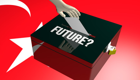 3D render illustration on Turkey future after Elections concept with voters insert their choice into ballot on Turkey flag background Stock Photo