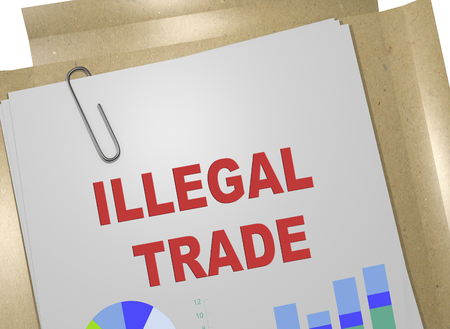 3D illustration of ILLEGAL TRADE title on business document