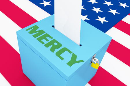 3D illustration of MERCY script on a ballot box, with US flag as a background.