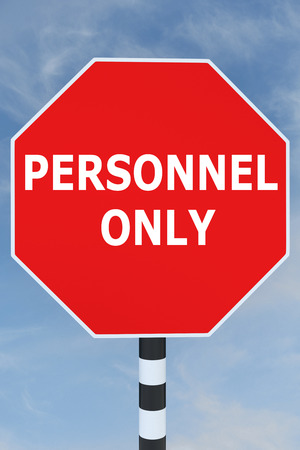 3D illustration of PERSONNEL ONLY title on road sign Stock Photo