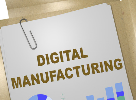 3D illustration of DIGITAL MANUFACTURING title on business document