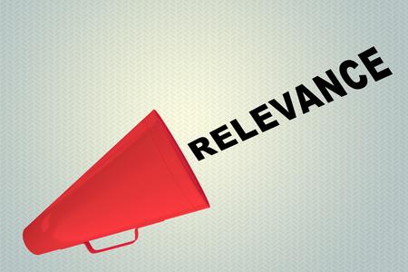 3D illustration of RELEVANCE title flowing from a loudspeaker Stok Fotoğraf