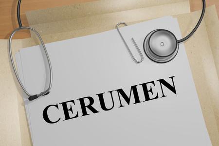 3D illustration of CERUMEN title on a medical document