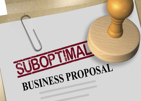 3D illustration of SUBOPTIMAL stamp title on business proposal document