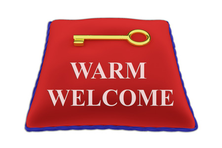 3D illustration of WARM WELCOME title on red velvet pillow near a golden key, isolated on white. Stock Photo