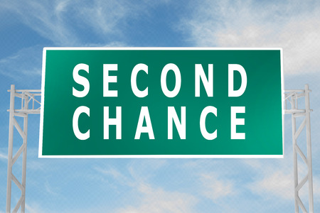 3D illustration of SECOND CHANCE script on road sign