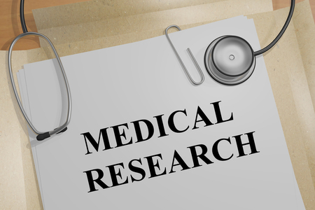3D illustration of MEDICAL RESEARCH title on a medical document