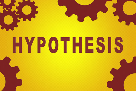 HYPOTHESIS sign concept illustration with red gear wheel figures on yellow gradient background Stock Photo
